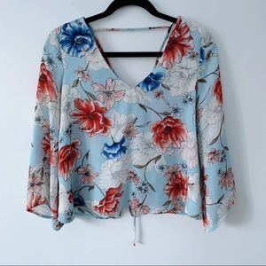 LUSH Blue Pink Floral Long Sleeve Tie Up Back